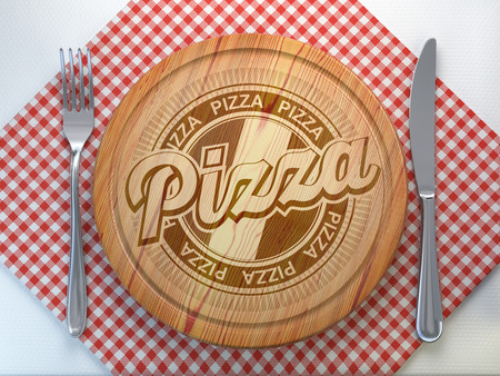 Pizza restaurant pizzaeria concept.Cutting wooden board with text pizza. 3d illustration Stock Photo