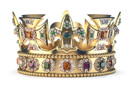 Couronne en or avec des bijoux isolés sur blanc. Banque d'images