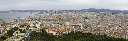 Panorama of Marseille from Basilique Notre Dame de la Garde, in December.