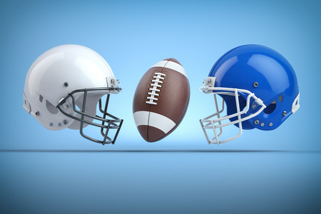American football helmets and ball.