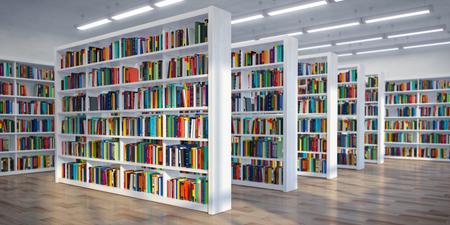 Bibliothek. Hintergrund aus weißen Bücherregalen mit Büchern und Lehrbüchern. Lern- und Bildungskonzept. 3D-Darstellung Standard-Bild