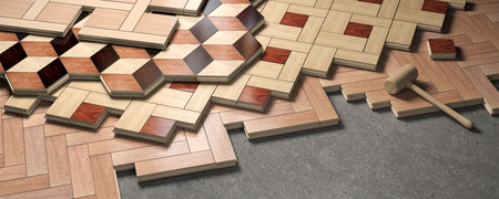 Wood parquet laid on the floor. House construction and renovation concept. 3d illustration Stock Photo