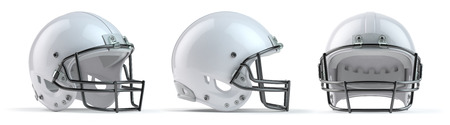 Set of white american football helmets isolated on white