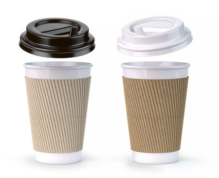 Paper coffee cups isolated on white 版權商用圖片