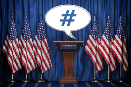 Message , tweet or speech bubble of the president of USA in White House.