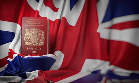 British passport on the flag of the UK United Kingdom.