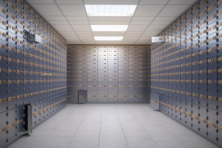 Stanza delle cassette di sicurezza all'interno di un caveau di una banca.