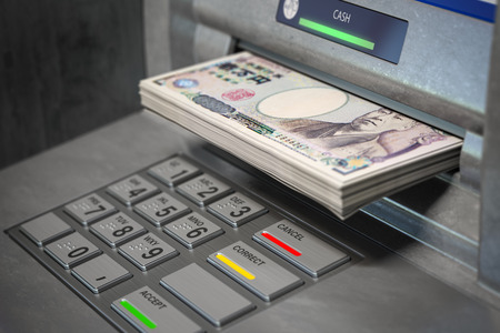 ATM machine and yen. Withdrawing 100 yen banknotes.