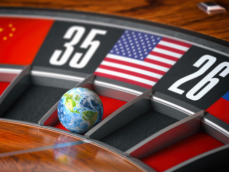 Earth as a ball of casino roulette with american USA flag in winning number.