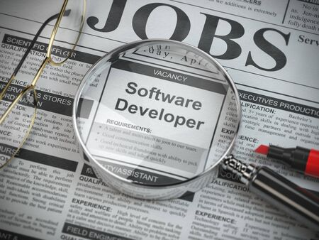 Software developer vacancy in the ad of job search newspaper