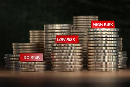 Investment and level of risk concept. Coins of dollar and no risk, low and hogh risk signs. 3d illustration