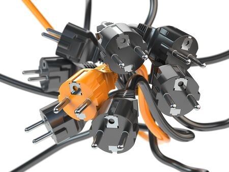 Unique orange electric plug in the heap of a black plugs.