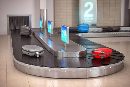 Suitcases on the airport luggage conveyor belt.