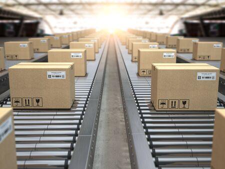 Box on conveyor roller. Reklamní fotografie