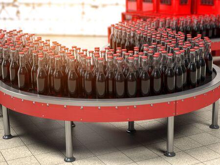 A row of bottles on conveyor belt in factory 版權商用圖片