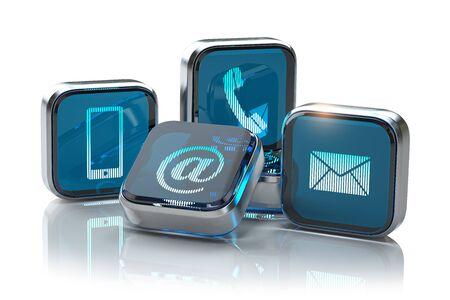 Znaki telefon, telefon komórkowy, list i e-mail na białym tle.
