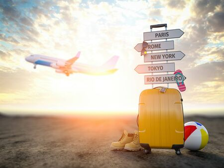 Yellow suitcase and signpost with travel destination, airplane