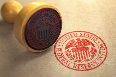 Federal reserve system FED symbol stamp on craft paper. 3d illustration