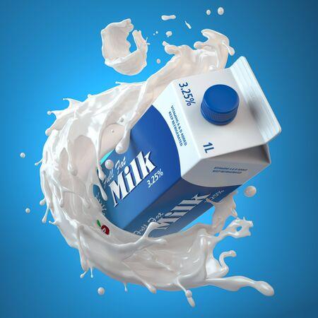 Boîte en carton de lait ou emballage de lait et éclaboussures de lait sur bleu
