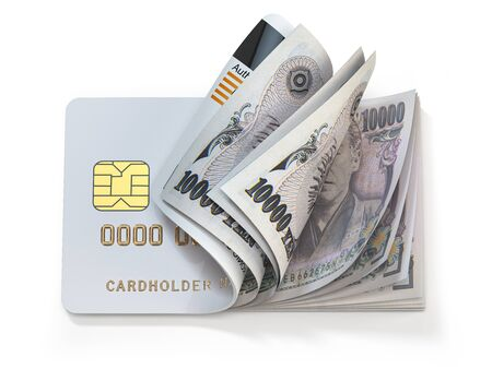 Credit card and japan yen in cash. Banking, shopping concept.