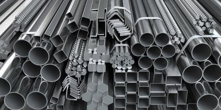 Different metal rolled products. Stainless steel profiles and tubes.