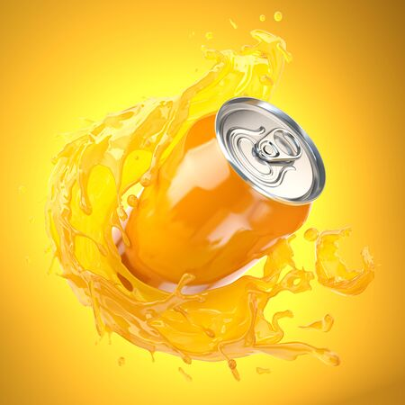 Orange juice or soda can with orange splash on orange Imagens