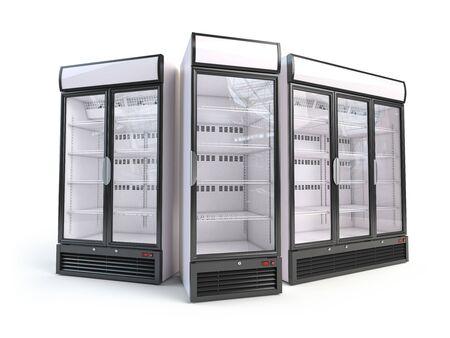 Set di diversi frigoriferi vetrina vuota.
