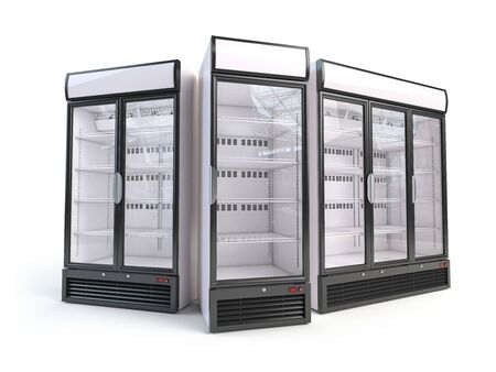 Set of different empty showcase refrigerators.