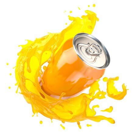 Orange juice or soda can with orange splash isolated on white. 3d illustration