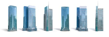 Different skyscraper buildings isolated on white. 스톡 콘텐츠