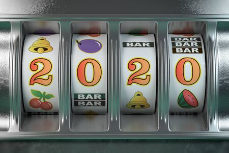 Slot machine with jackpot number 2020.