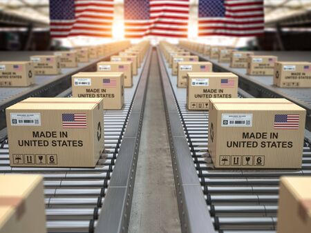 Made in USA United States. Cardboard boxes with text made in USA and american flag on the roller conveyor. 3d illustration 写真素材