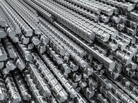 Reinforcing steel bars in warehouse. Metal industrial background from building armature. 3d illustration