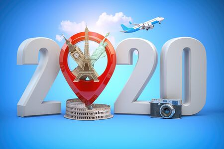 2020 Happy new year. Number 2020 and pin with most popular landmarks of the world. Stok Fotoğraf