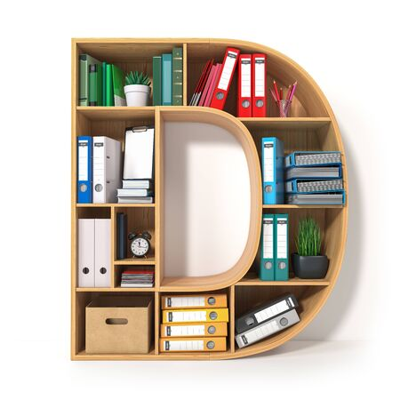 Letter D. Alphabet in the form of shelves with file folder, binders and books isolated on white. Archival, stacks of documents at the office or library. 3d illustration