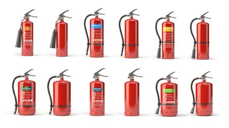 Fire extinguisher set  of different types isolated on white. 3d illustration