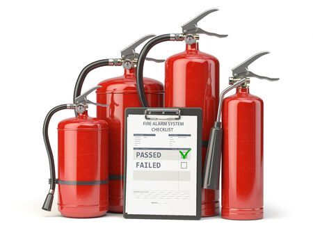 Fire extinguisher checking concept. Fire extinguisher and clipboard with checklist isolated on white, 3d illustration Фото со стока