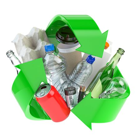 Recycle sign with different types of waste.  Garbage and  trash sorted by plastic, e-waste, metal, glass and paper. Ecology and green energy concept. 3d illustration Imagens