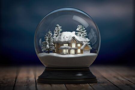 Glass snow globe and a house with lights in windows in the night. 3d illustration