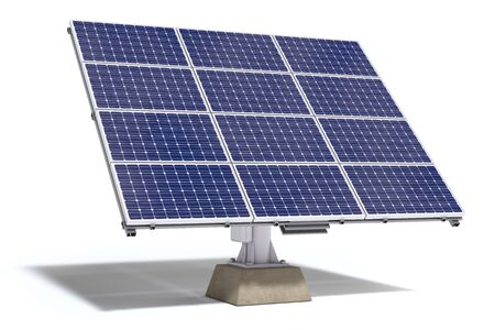Solar batteries for a pure  electricity and green energy isolated on white background. 3d illustration Stok Fotoğraf