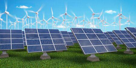 Solar panels with wind turbines on sunset summer landscape. Green energy concept. 3d illustration