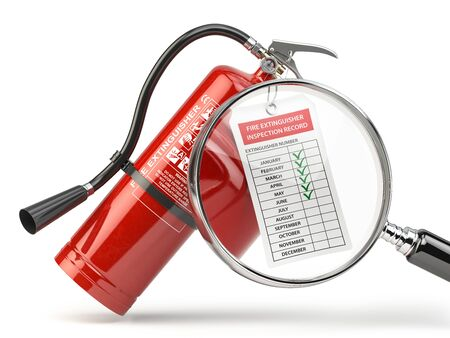 Fire extinguisher checking concept.