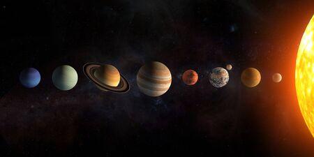 Conjunto de planetas del sistema solar. El Sol y los planetas en una fila en las estrellas del universo.
