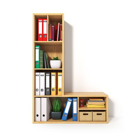 Letter L. Alphabet in the form of shelves with file folder, binders and books isolated on white. Archival, stacks of documents at the office or library. 3d illustration