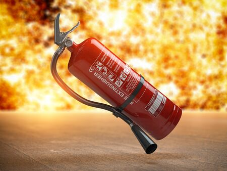 Fire extinguisher on a fire background. 3d illustration