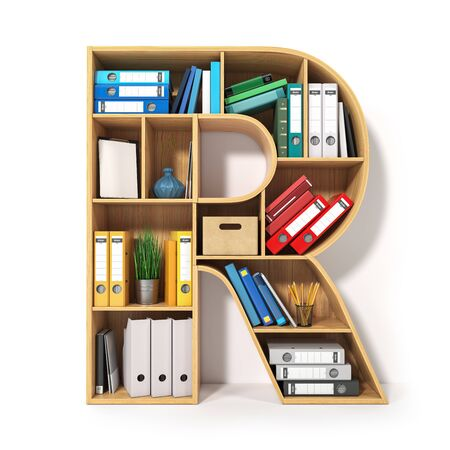 Letter R. Alphabet in the form of shelves with file folder, binders and books isolated on white.