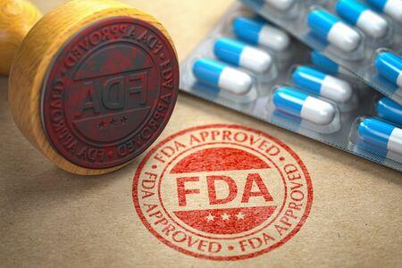 Timbro di gomma con FDA e pillole su carta artigianale.