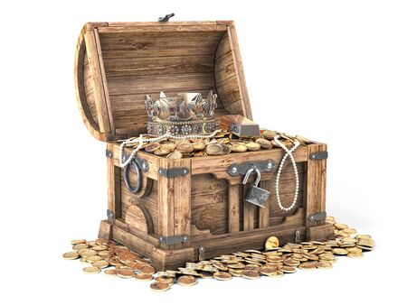 Open treasure chest filled with golden coins, gold  and jewelry isolated on white background. 3d illustration Stock Photo