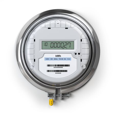 Digital electric meter with lcd screen isolated on white. Electricity consumption concept. 3d illustration Banco de Imagens