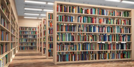 Library. Bookshelves with books and textbooks. Learning and education concept. 3d illustration Zdjęcie Seryjne